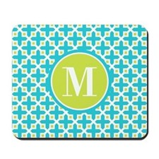 Monogram Cross Pattern Turquoise and Lime Mousepad