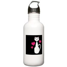 White Cat on Black With Hearts Water Bottle