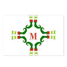 Personalizable Christmas Elf Feet Initial Postcard