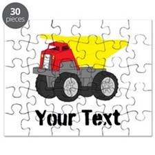 Personalizable Red Yellow Dump Truck Puzzle