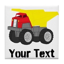 Personalizable Red Yellow Dump Truck Tile Coaster