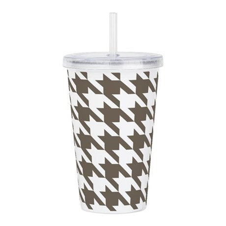 Houndstooth Brown Acrylic Double-wall Tumbler