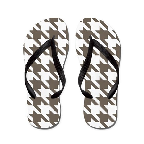 Houndstooth Brown Flip Flops