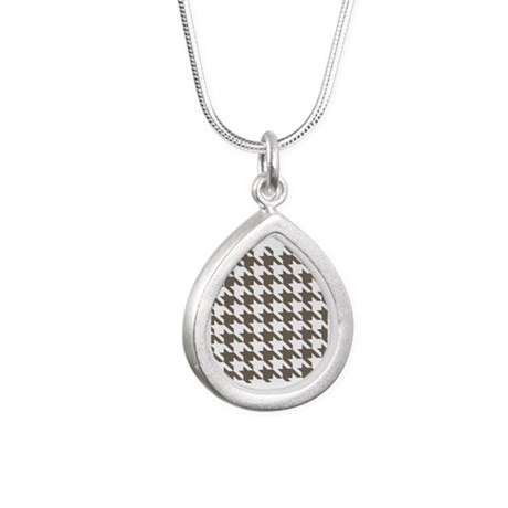 Houndstooth Brown Silver Teardrop Necklace