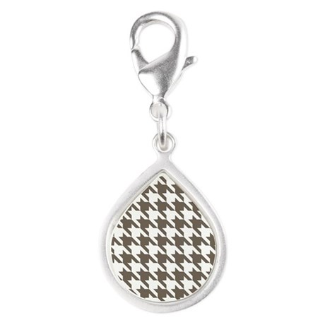 Houndstooth Brown Silver Teardrop Charm