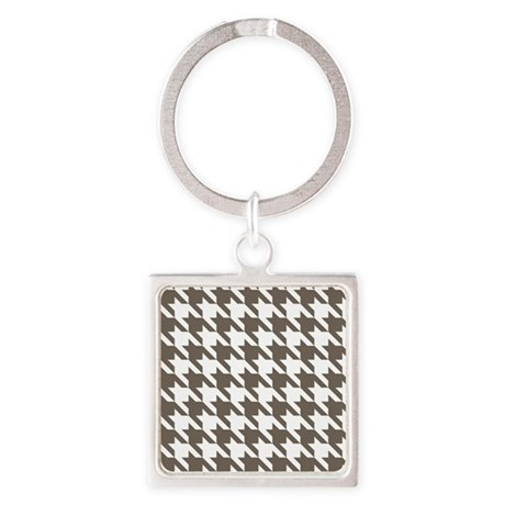 Houndstooth Brown Square Keychain