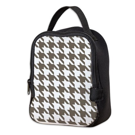 Houndstooth Brown Neoprene Lunch Bag