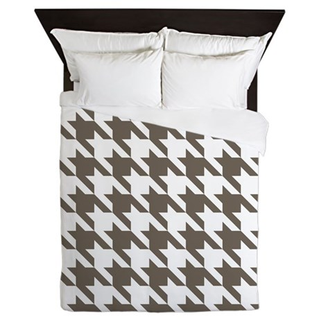 Houndstooth Brown Queen Duvet