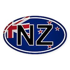 Nz - New Zealand Oval Sticker Flag Design