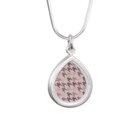 Houndstooth pink Silver Teardrop Necklace