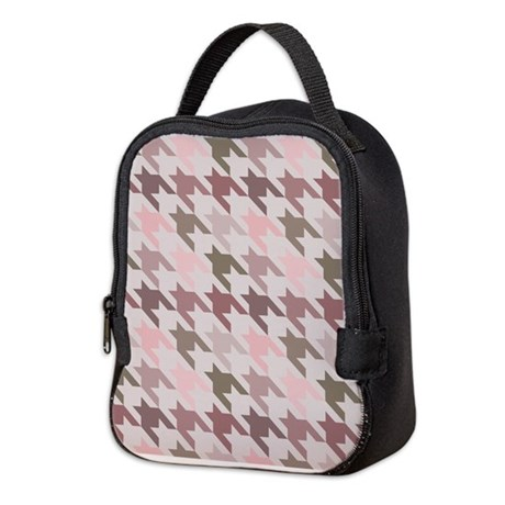 Houndstooth pink Neoprene Lunch Bag