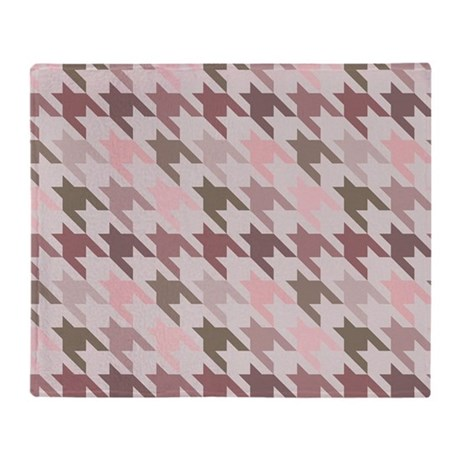 Houndstooth pink Throw Blanket