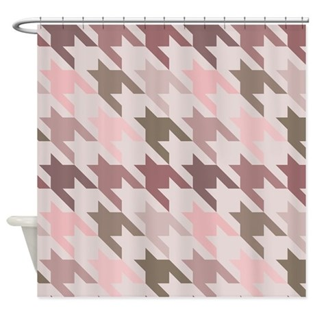 Houndstooth pink Shower Curtain