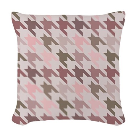 Houndstooth pink Woven Throw Pillow
