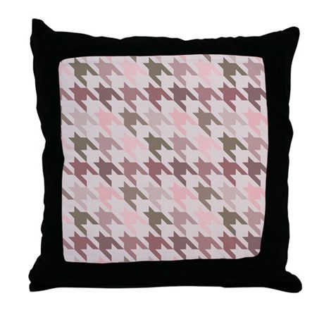 Houndstooth pink Throw Pillow