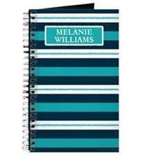 Blue Doodle Stripe Pattern With Name Journal