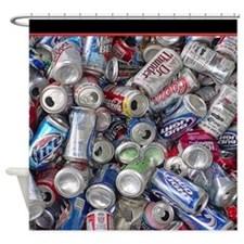 Empty Beer and Soda Cans Shower Curtain
