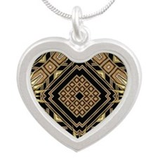 Art Deco Black Gold 1 Silver Heart Necklace