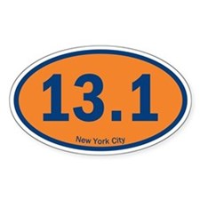 NYC Half-Marathon 26.2 Euro Oval Car Sticker Stick