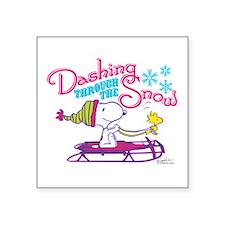 Snoopy and Woodstock Dashin Square Sticker 3