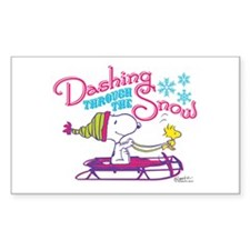 Snoopy and Woodstock Dashing T Sticker (Rectangle)
