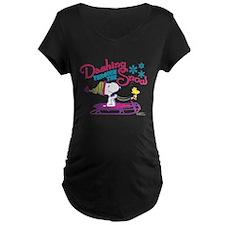 Snoopy and Woodstock Dashin Maternity Dark T-Shirt