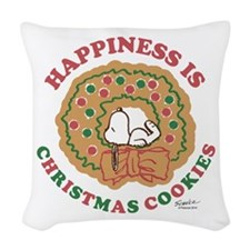 Snoopy:Hapiness is Christmas C Woven Throw Pillow