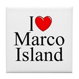 """I Love Marco Island"" Tile Coaster"