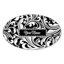Personalize Floral Swirls [b/w] Bumper Stickers