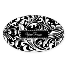Personalize Floral Swirls [b/w] Decal