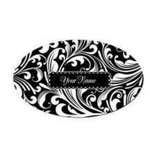 Personalize Floral Swirls [b/w] Oval Car Magnet