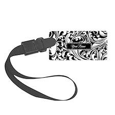 Personalize Floral Swirls [b/w] Luggage Tag