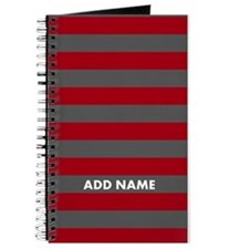 Red Gray rugby stripes Journal
