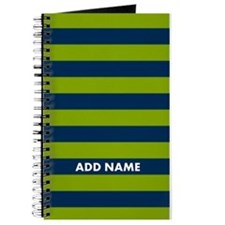 Green navy rugby stripes Journal