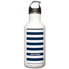 white navy rugby stripes Water Bottle