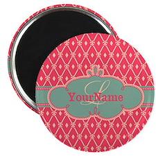 Pink Modern Trellis Custom Monogram Magnet
