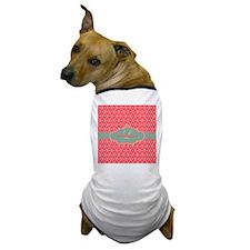 Pink Modern Trellis Custom Monogram Dog T-Shirt