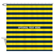 yellow navy rugby stripes Shower Curtain
