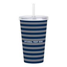 gray navy rugby stripes Acrylic Double-wall Tumble