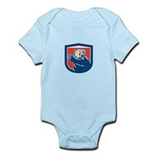 Grizzly Bear Swiping Paw Shield Retro Body Suit