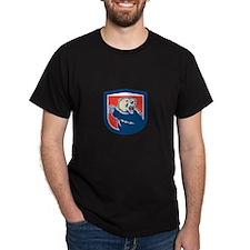 Grizzly Bear Swiping Paw Shield Retro T-Shirt