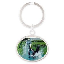 Hold your breath and go for it!! Oval Keychain