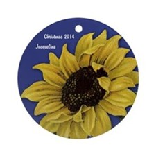 Personalized Sunflower Christmas Ornament (round)