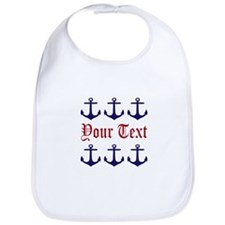Personalizable Red and Navy Anchors Bib