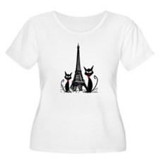 eiffel tower cats 3 FINISHED Plus Size T-Shirt