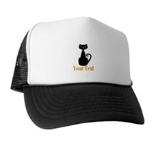 Personalizable Orange Black Cat Trucker Hat