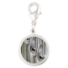 Organ Pipes Silver Round Charm