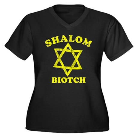 Shalom Biotch Womens Plus Size V-Neck Dark T-Shir
