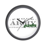 Proud Army Grandpa (green) Wall Clock