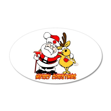 Fireman Christmas 22x14 Oval Wall Peel